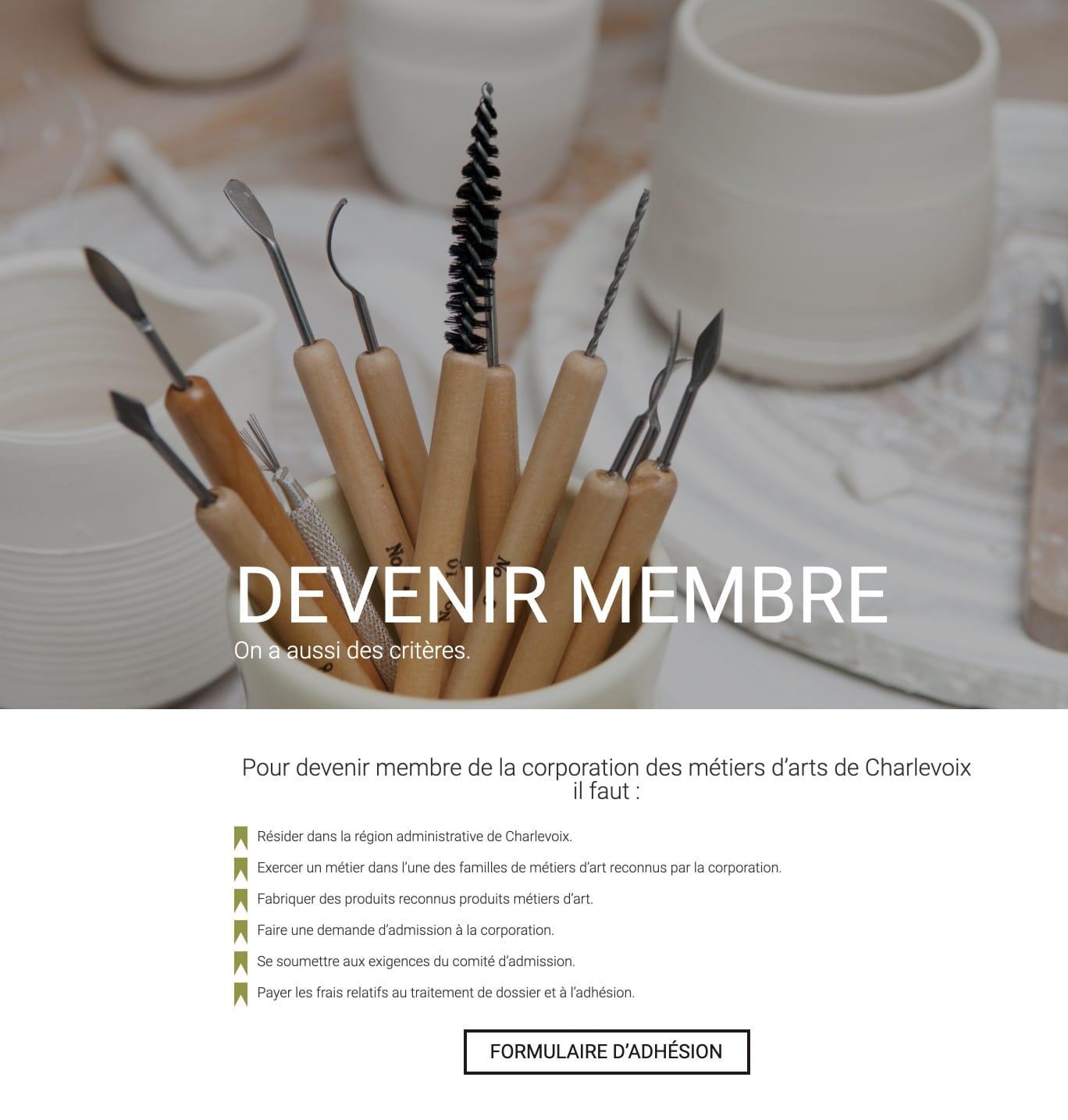 Corporation des métiers d'art de Charlevoix - Site Web - Anorak Studio